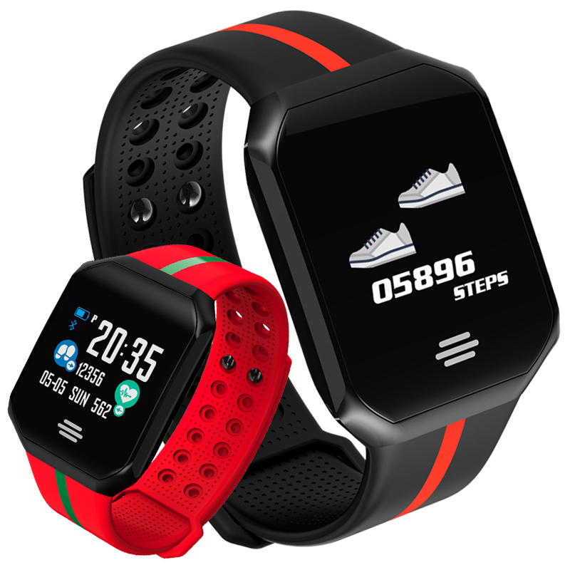 Heart Rate Monitor Fitness Smart Watch Men Women Square Dial LED Touch Large Screen Smartwatch Swimming Sports Intelligent Watch makibes touch screen led watch with red light rectangle dial