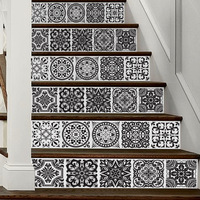 Creative European Style 3D Stair Stickers Black And White Tile Wall Stickers for Living Room Bedroom Bathroom Home Decor FS030