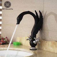 Oil Rubbed Bronze Swan Shape Bathroom Vessel Sink Mixer Faucet Dual Chrome Handles Hot Cold Water Taps