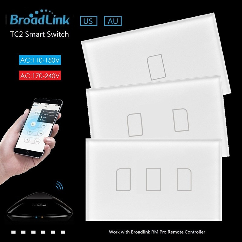 Broadlink TC2 US/AU 2017 New Arrival Smart Home RF Touch Light Switches 123Gang 110V 220V Remote Control Wall Touch Switch Panel us 1gang remote controller switches tempered glass panel hand touch switches bedroom light switch smart home wall switch