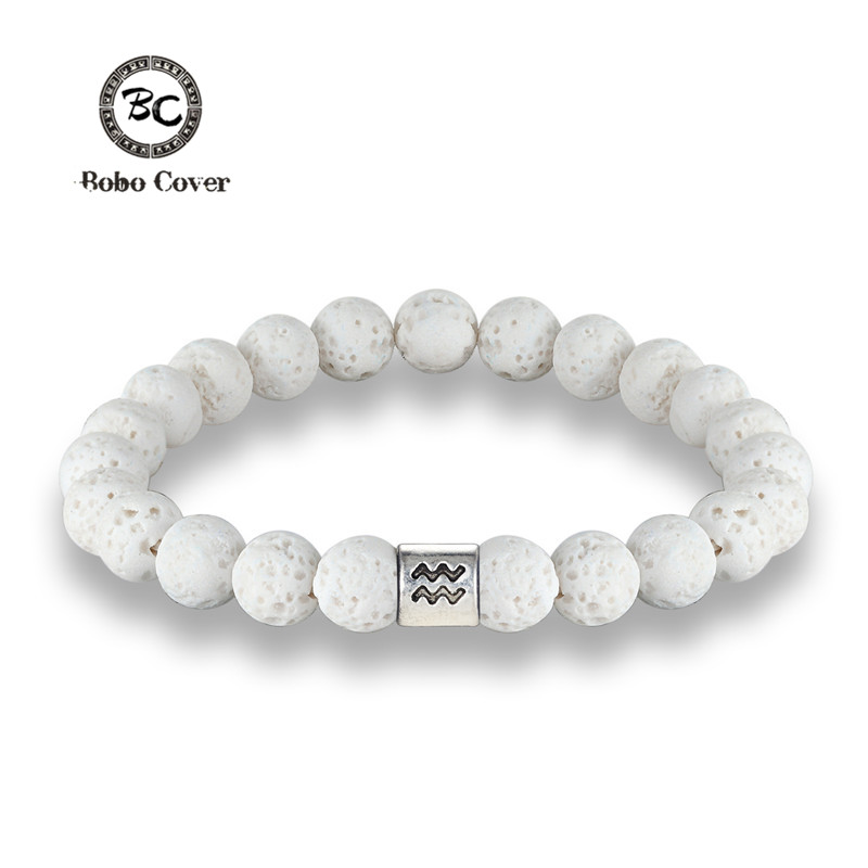 New 12 Zodiac Signs 8mm Beads Bracelets Handmade Vintage White Lava Stone Beads Elastic Bracelets Jewelry For Men Women Jewelry