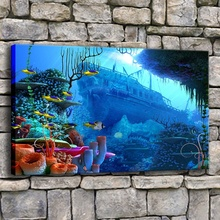 Wall Artwork 1 Piece Depth Ocean Sea World Coral Fish And Ship Picture Modern Home Decorative Top-Rated Canvas Print Painting