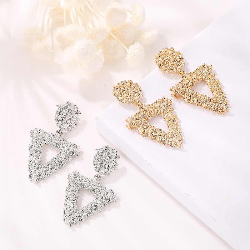 Минималистичные геометрические серьги для женщин, модные простые металлические треугольные квадратные серьги для девушек, Женские Ювелирные аксессуары