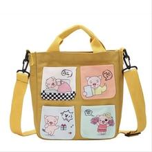 Cartoon Pig Tote Girl Shoulder Bags For Women Cute Mini Canvas Bag Ladies Handbags Crossbody Pouch