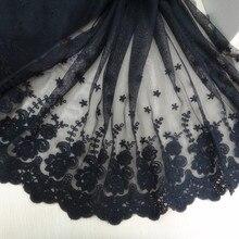 1 yards wholesale freeshipping!!  Diy accessories black lace decoration 100% cotton black embroidery net flower--wide:22cm цена в Москве и Питере