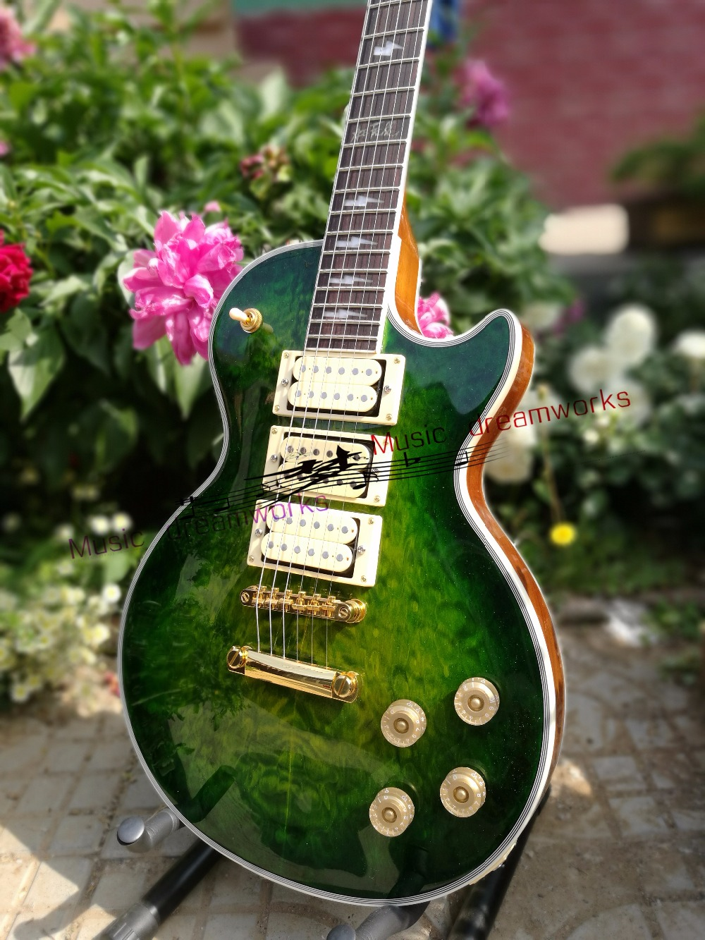 China's OEM firehawk  custom shop  electric guitar LP Lightning inlays Three pieces of pickup in stock custom shop music man john petrucci electric guitar in sliver sparkle finish