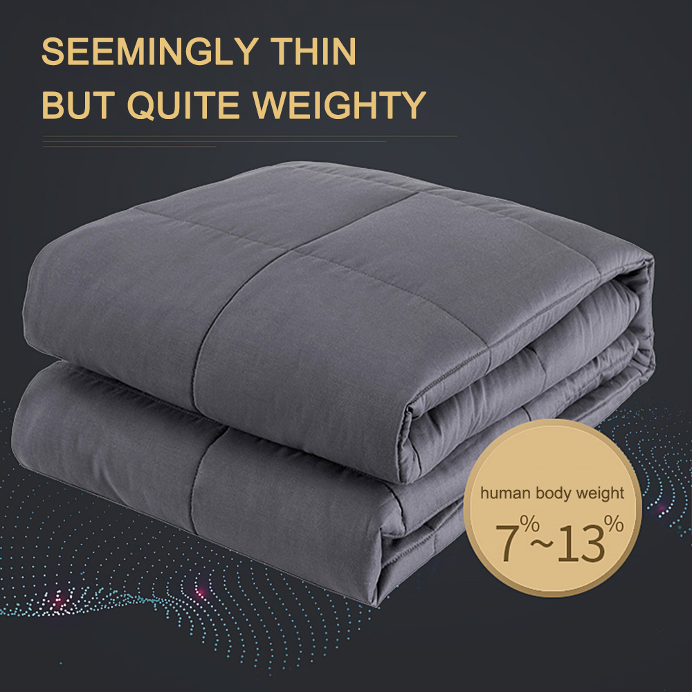 Weighted Blanket Premium Cotton with Glass Beads Heavy Weighted Blanket for Adults Dark Grey Blanket 120*180 cm 150*200cm-in Blankets from Home & Garden    1