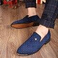 Плюс 38-46 2016 Весна Осень Мужчины Повседневная Обувь Нубука заклепки Англия Тенденция Мужчины Квартиры Обувь Увеличение Острым Носом обувь