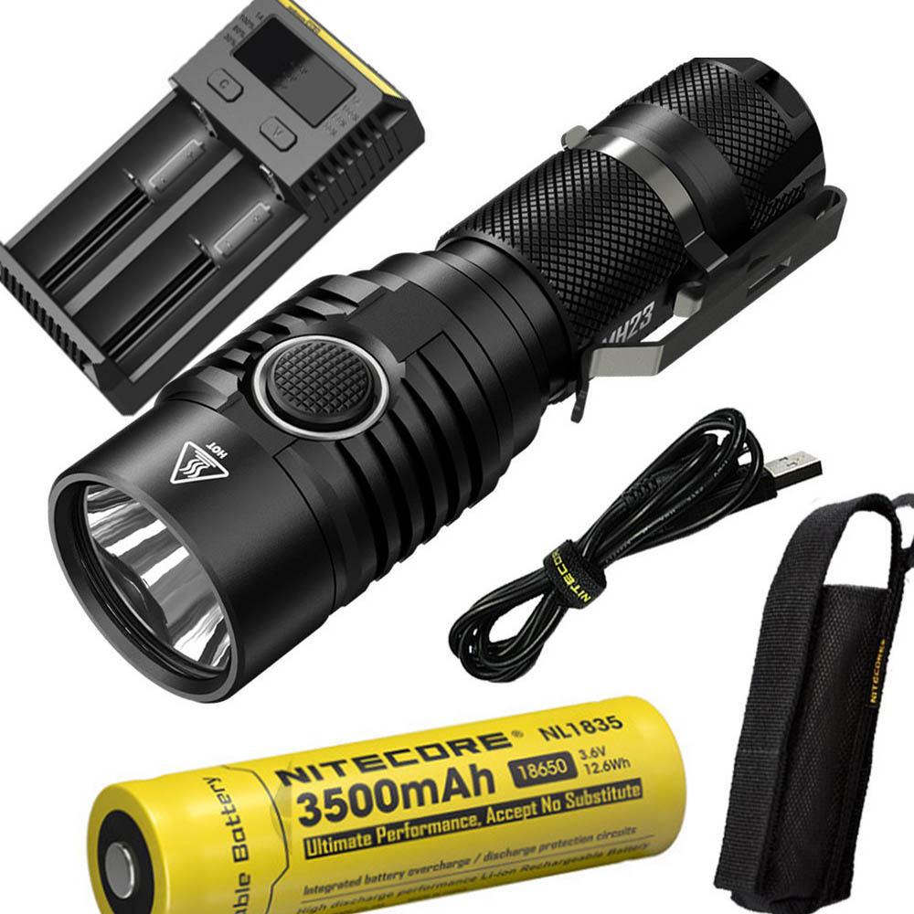 NITECORE MH23 Outdoor flashlight CREE XHP35 HD LED max with 1800 lumens beam distance 294 meter USB recharging tactical torch powerful handlight outdoor tactical flashlight 1300lm tactical led flashlight torch outdoor waterproof aluminum alloy