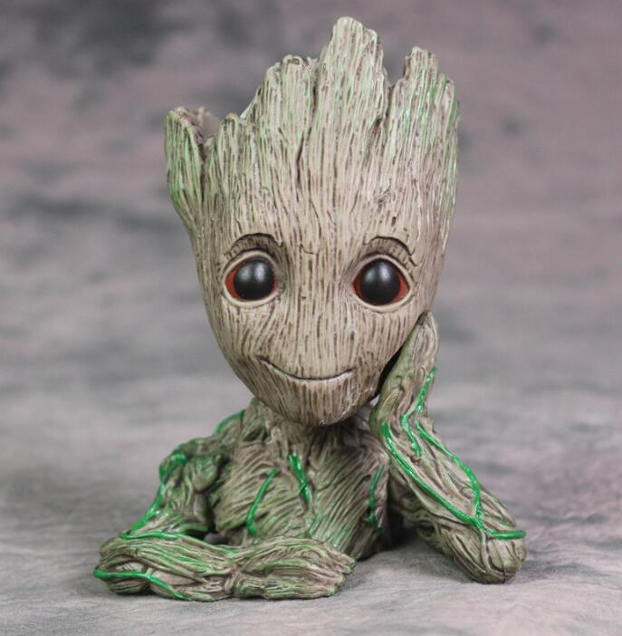 Marvel Hero Baby Tree Man Guardians Galaxy Anime Action Figures Toys Kids Figurines Model Pen holder And Flower Pot Home Decor ...