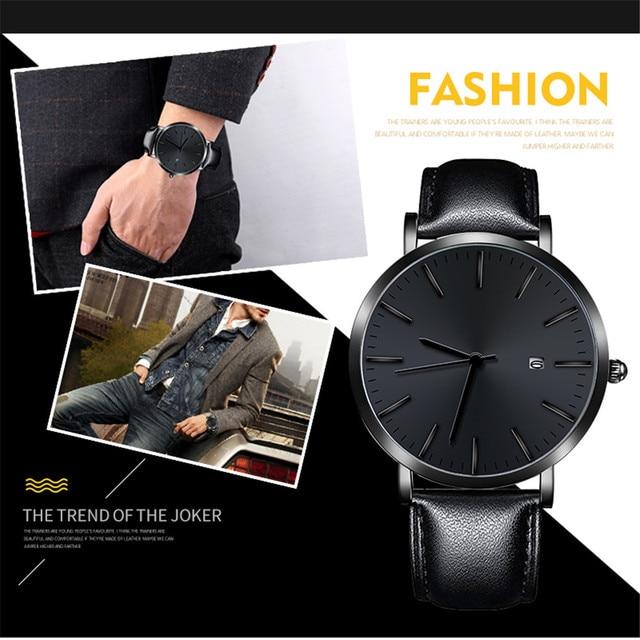Montre pour hommes mode hommes Date boîtier en alliage de cuir analogique Quartz Sport montre hommes montres top luxe marque Relogio Masculino