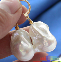 Hot Sale Shipping ONLY HIGE 26MM WHITE KESHI REBORN PEARL EARRING