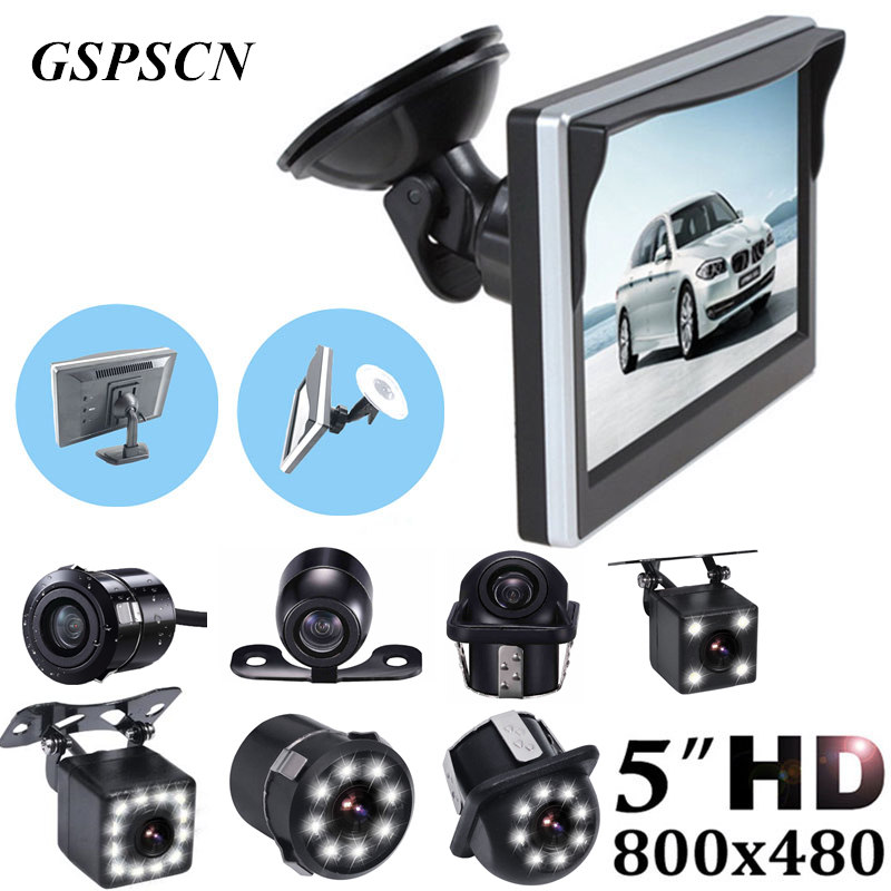 GSPSCN Auto Einparkhilfe 5 zoll Rückansicht Monitor + Auto Umkehr Rückspiegel Backup-Kamera mit Gummi Saugnapf Halterung