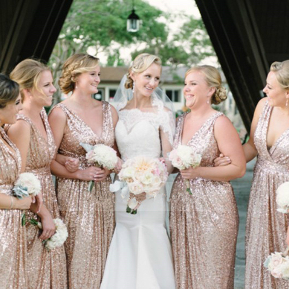 Gold Wedding Prom Long Gowns Plus Size Elegant Champagne Rose Bridesmaid Dress 2016 Sequins Bling Dresses In From