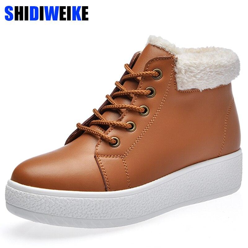 52d4ad41 Felpa Plataforma Estilo Nuevo Impermeable Tobillo Británico Negro Cuero  Caliente Invierno 2019 Nieve marrón Zapatos Otoño Mujer De Botas Z85qWwCd