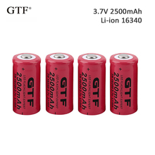 4pcs 3.7V 2500mah 16340 Battery li-ion Rechargeable for Flashlight rechargeable Portable LED powerbank cr123a