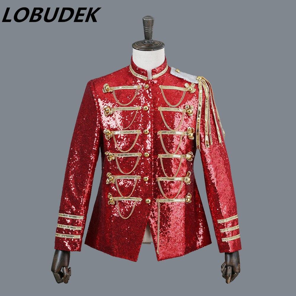 Club nocturno bar trajes para hombre DS Lentejuelas rojas chaqueta - Ropa de hombre