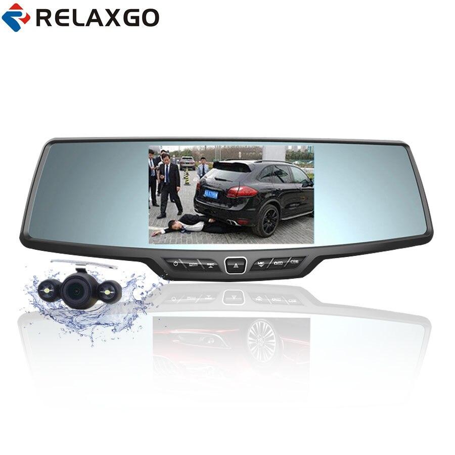 Relaxgo 4.3 mise à niveau De Voiture DVR Double Lentille Rétroviseur De Voiture Caméra Full HD 1080 P Dash Cam Vidéo Enregistreur Véhicule Caméra Parking