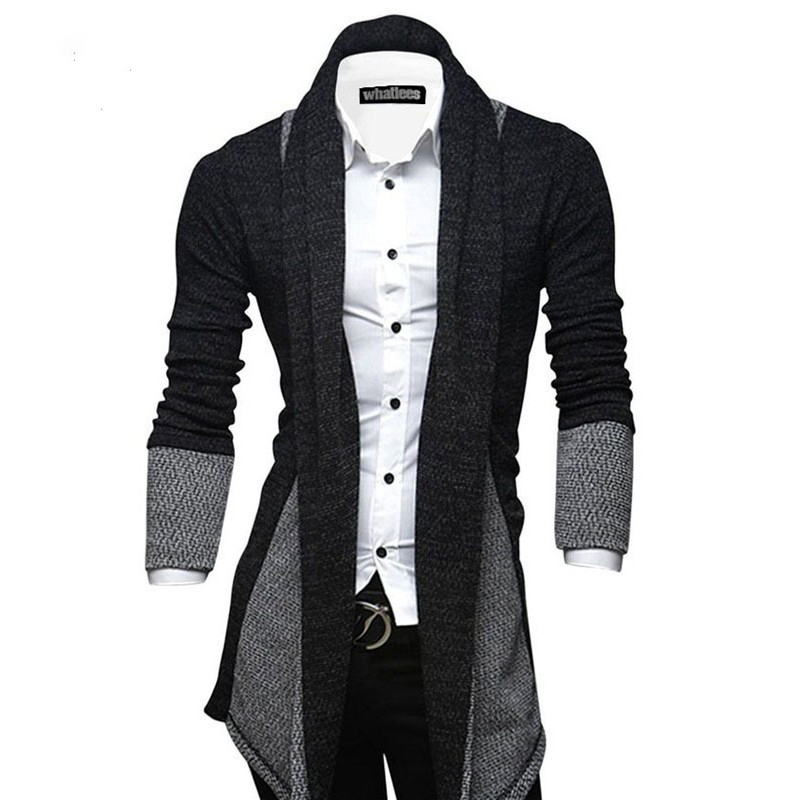 Spring Autumn Men's Sweater Patchwork Full Sleeve Cardigan Mens Clothing Men's Sweater mens sweaters 2019 Asian Size Y1