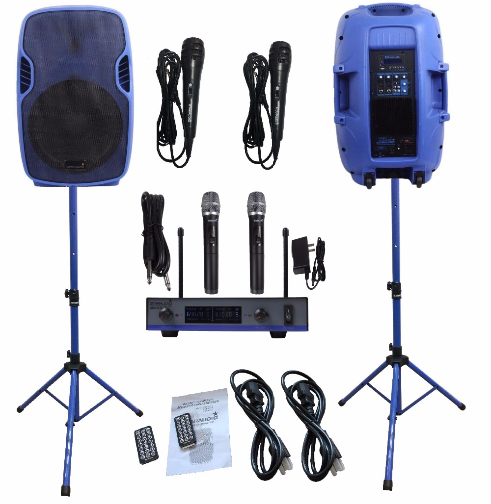 2 STARAUDIO Blue 3500W 15PA Powered Active DJ Stage BT USB SD MP3 Speakers W/2CH UHF Wireless Mics Stands Wired Mics SSBM-15