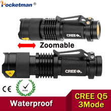 High-quality Mini LED Flashlight Zoom Black 2000LM Waterproof LED Laterna 3 Modes Zoomable LED Torch penlight AA 14500
