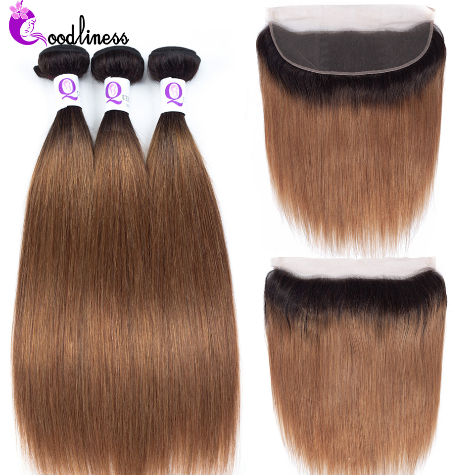 Goodliness Ombre 13x4 Lace Frontal With Bundles Brazilian Straight Hair 1B/30 TwoTone Remy Human Hair Ombre Bundles With Frontal
