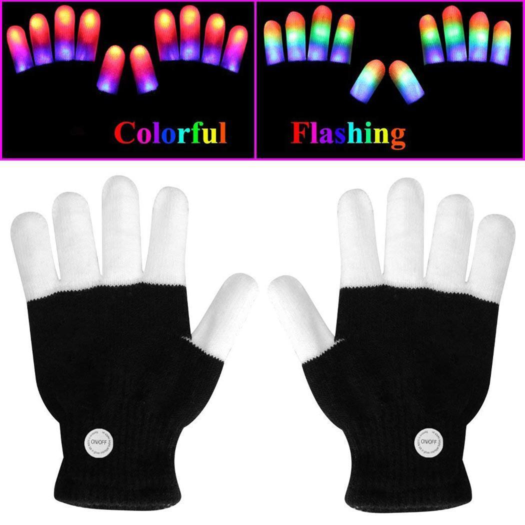 LED Party Schnelle Zelle Nachtclub Voller Bunte Leucht Handschuhe Blinkende Enthalten Kreative Finger Schwarz Taste Leuchtet 7