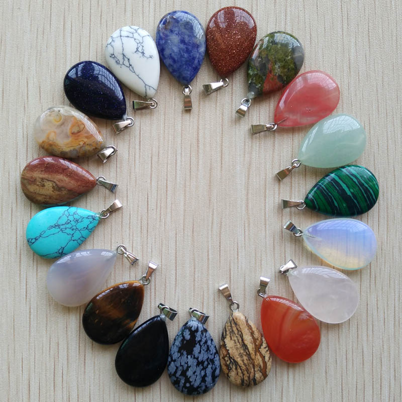 Wholesale 50pcs/lot 2018 Trendy  Hot Sell Natural Stone Water Drop Shape Pendants  Charms For Necklaces Making Free Shipping