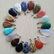 Wholesale 50pcs/lot 2019 trendy  hot sell natural stone water drop shape pendants  charms for Necklaces making Free shipping