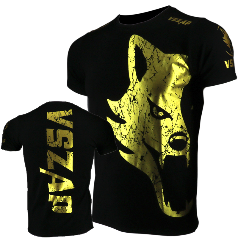 VSZAP Golden Boxing Jerseys Fight MMA T-Shirt Gym Shorts Boxing Fitness Sport Muay Thai Cotton Breathable T Shirt Men Kickboxing