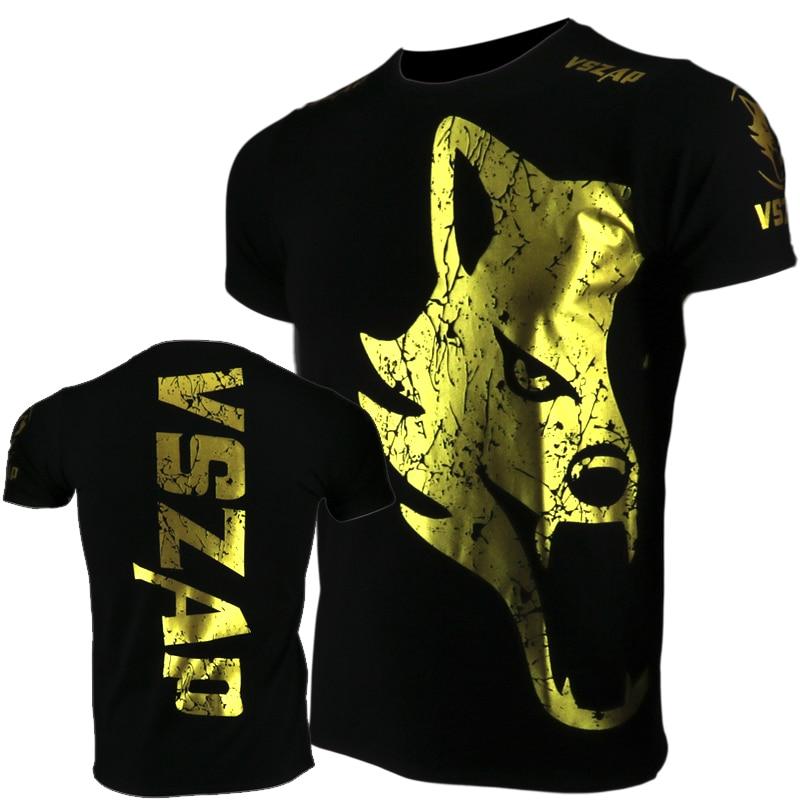 VSZAP Golden Boxing Jerseys Fight MMA T-Shirt Gym Shorts Boxing Fitness Sport Muay Thai Cotton Breathable T Shirt Men Kickboxing