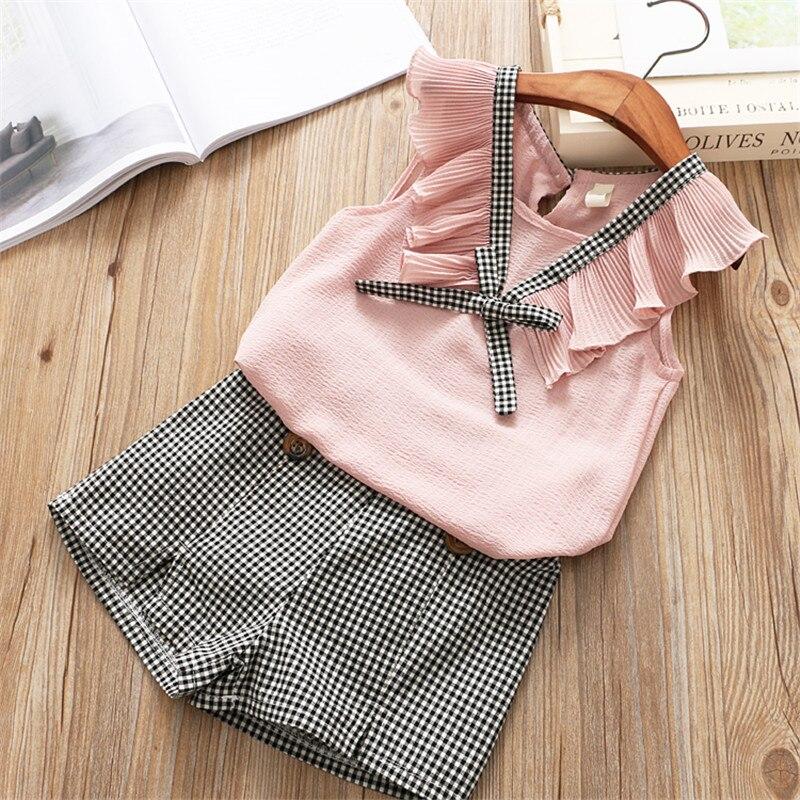 da61facd811b Aliexpress.com   Buy Hurave ruffles V neck Kids outfits Sleeveless ...