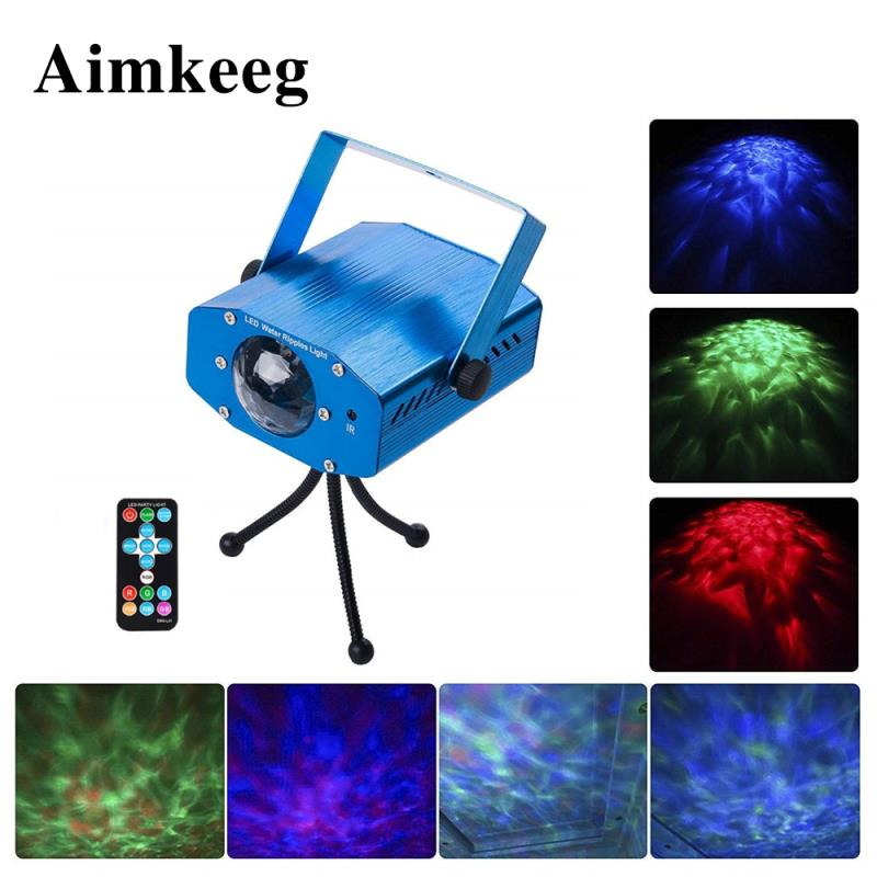 7 Color Wave Water Pattern Lamp Disco Stage Lighting Sound Activation 10W LED DJ Lamp Automatic Laser Projector With Controller