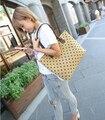 Nova queda de moda bolsa/Estrelado/pentagrama/impresso saco de lona/doce senhora/mulheres/saco de compras big bag/Livre grátis