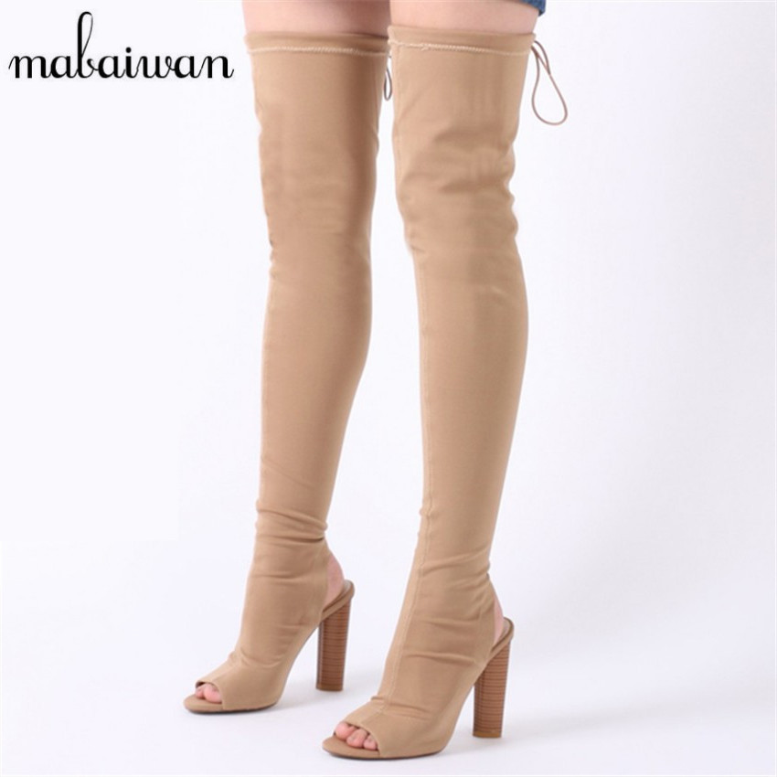 где купить Mabaiwan 2017 New Fashion Stretch Knit Women Peep Toe Thigh High Sock Boots High Heel Over The Knee Boots Slim Fit Shoes Woman по лучшей цене