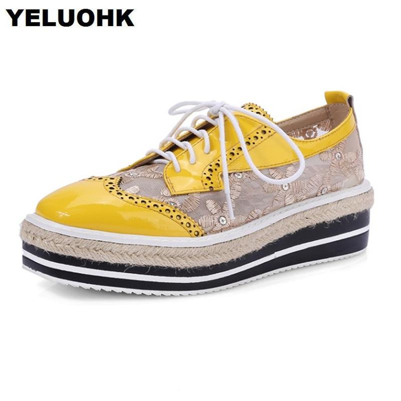 Big Size Lace Leather Shoes Women Flats Breathability Square Toe Handmade Shoes Women Summer Platform Ladies Shoes
