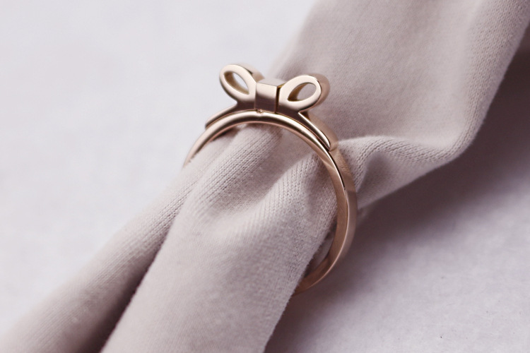 New hot shiny Rose Gold butterfly bowknot Titanium Steel Finger Ring Fashion Valentine Jewelry