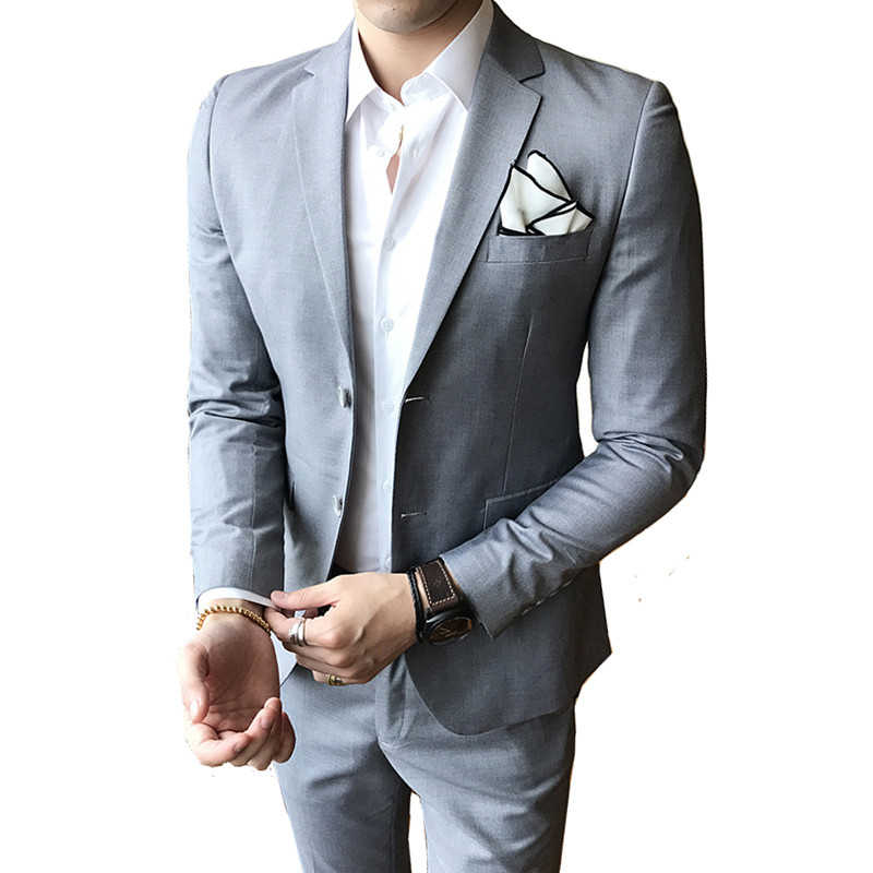 (Coats Pants) Business is finishing high quality men's suits two sets of wedding casual party classic gray suits blazer clothing