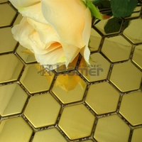 Free Shipping 26mm Honeycomb Pattern Stainless Steel Metal Mosaic Tile Golden Color HME8049 Homer Mosaic 11