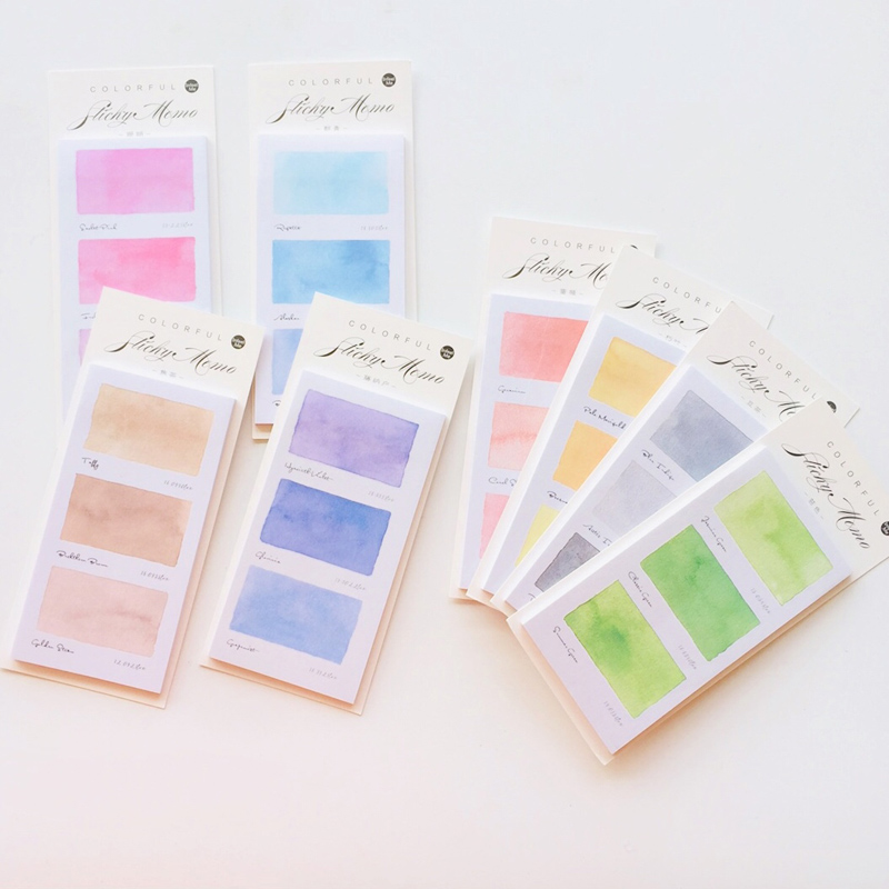 30 Sheets Gradient Watercolor Memo Pads Plan Message Writing Sticky Notes Marker Stick Label School Office Supply