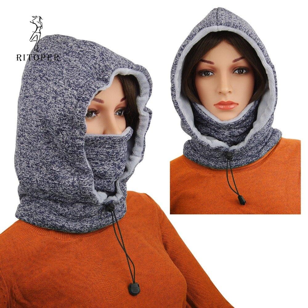 RITOPER Winter   Beanie   Fleece Hat Men Hat Female Mask Outdoor Sport Warm Scarf Neck Thicken New Cyclying Skiing   Beanie   Ski Warm