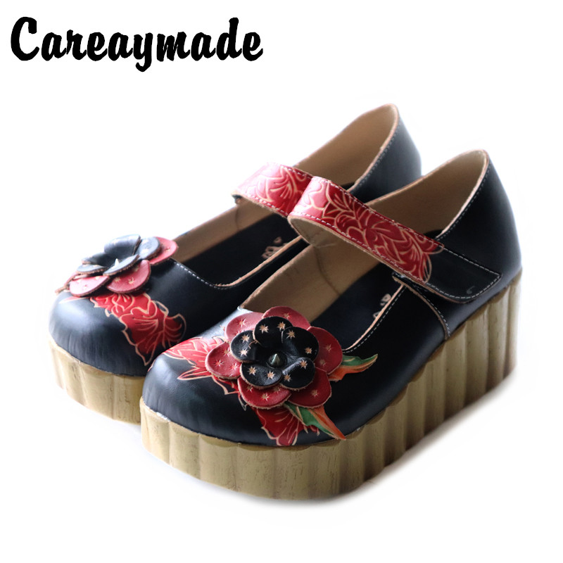 Careaymade New Summer Women fashion single shoes Round mid heels printing flower shoes Ethnic style hook