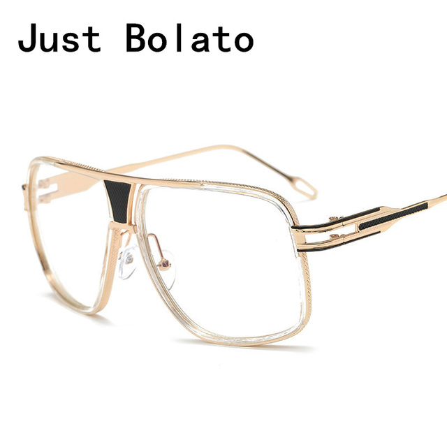 b9b8ceab1845 Fashion Vintage Oversize Men Square Glasses Frames Women Brand Gold Clear  Lens For Eyeglasses Male Female Big Frame Semi-Rimless