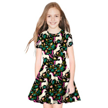 Summer Girls Dress Kids Print Short Sleeve Dress with Cute Unicorn Princess Casual Dress