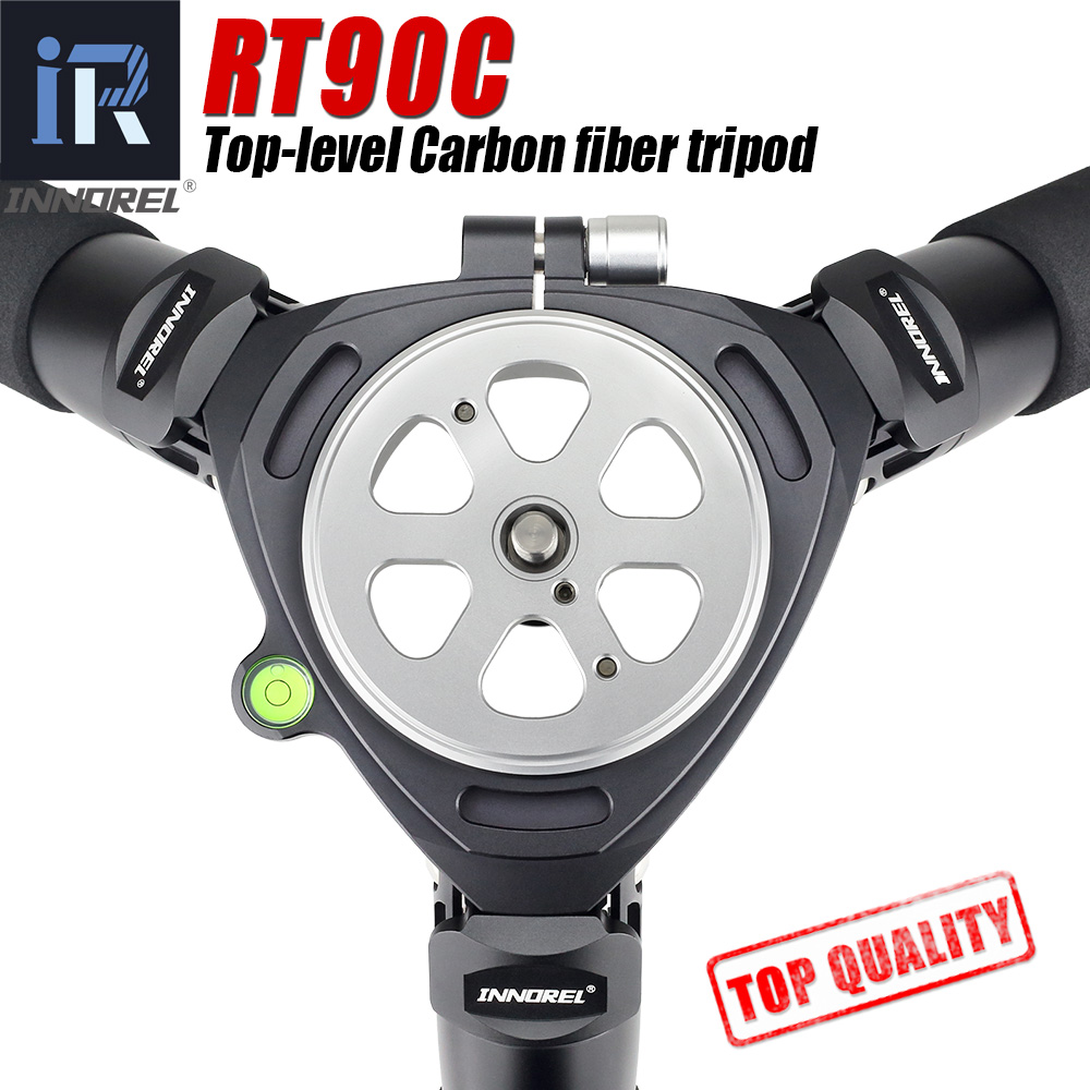RT90C top-niveau En Fiber De Carbone Trépied professionnel Observation Des Oiseaux heavy duty caméra stand 40mm tube 40 kg charge 75mm bol adaptateur
