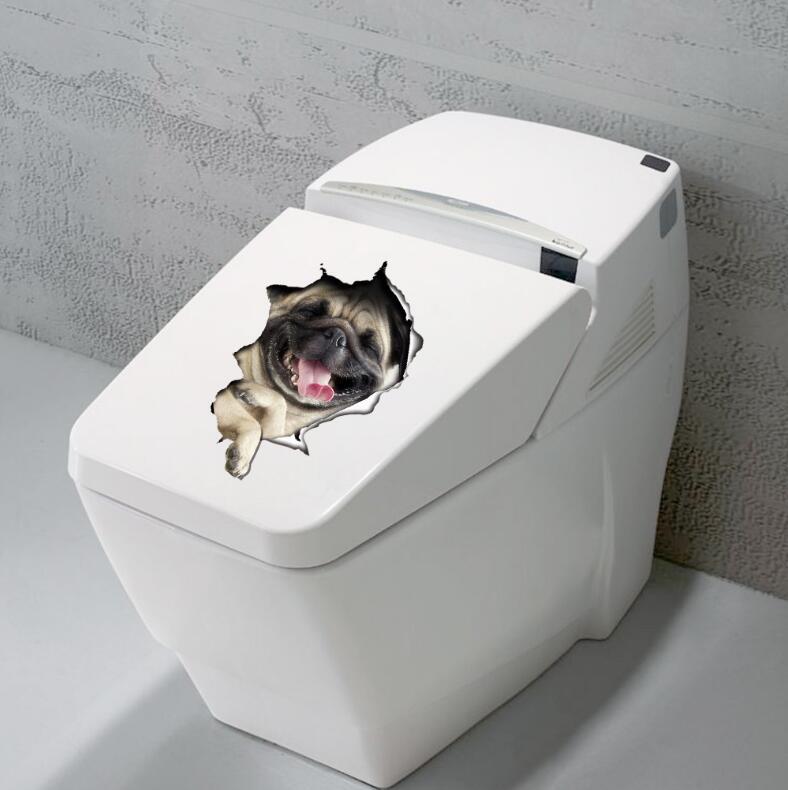 Drôle 3D Chien Toilettes autocollant affiche trou animal stickers ...