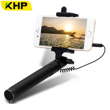 2018 KHP Mini Selfie Stick Tripod Wired Silicone Handle Monopod Universal Selfie Stick For iPhone Android