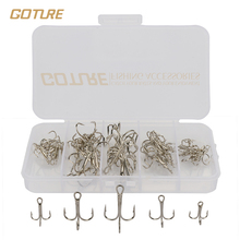 Goture High Carbon Steel Fishing Hook Size 2/4/6/8/10# Fishhooks Silver Black Brown 50pcs/box