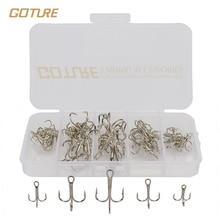 Goture High Carbon Steel Fishing Hook Size 2/4/6/8/10# Fishhooks Silver Black Brown 50pcs/box
