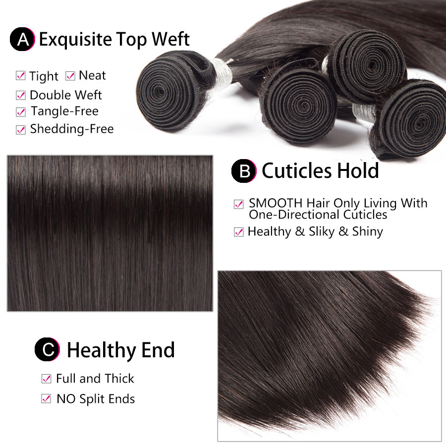 Straight Hair Bundles With Frontal Brazilian Human Hair Bundles with Closure Pre Plucked Remy Hair Lace Frontal With Bundles